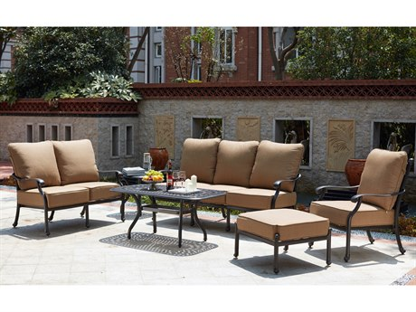 Darlee Outdoor Living Madison Cast Aluminum Antique Bronze 9 Piece Deep Seating Lounge Set PatioLiving