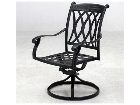 Darlee Outdoor Living Capri Cast Aluminum Antique Bronze Swivel Rocker Dining Arm Chair (Price Includes 4) PatioLiving