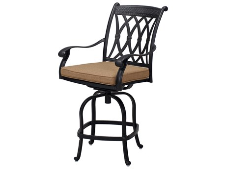 Darlee Outdoor Living Capri Cast Aluminum Antique Bronze Swivel Counter Height Stool (Price Includes 4) PatioLiving