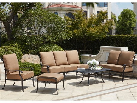 Darlee Outdoor Living Capri Cast Aluminum Antique Bronze 4 Piece Deep Seating Lounge Set