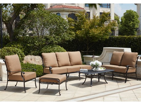 Darlee Outdoor Living Darlee Outdoor Living Capri Cast Aluminum Antique Bronze 6 Piece Deep Seating Lounge SetCapri Cast Aluminum Conversation Patio Lounge Set