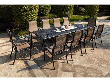 Darlee Outdoor Living Monterey Sling Cast Aluminum Antique Bronze 11 Piece Dining Set PatioLiving