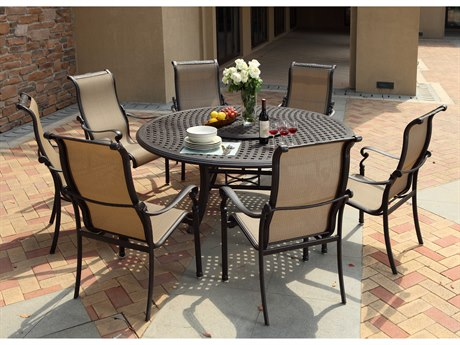 Darlee Outdoor Living Monterey Sling Cast Aluminum Antique Bronze Dining Arm Chair (Price Includes 4)