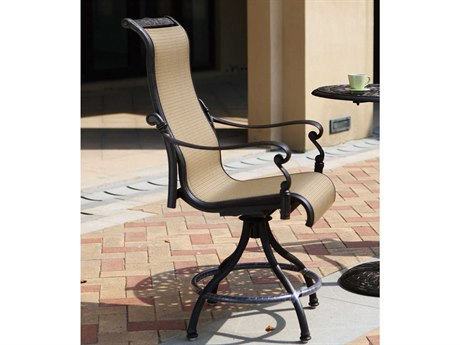 Darlee Outdoor Living Monterey Sling Cast Aluminum Antique Bronze Counter Height Stool (Price Includes 4)