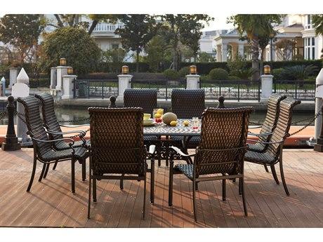 Darlee Outdoor Living Victoria Wicker Espresso 9 Piece Dining Set PatioLiving