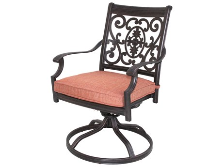Darlee Outdoor Living St. Cruz Cast Aluminum Antique Bronze Swivel Rocker Dining Arm Chair (Price Includes 4) PatioLiving