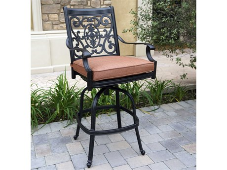 Darlee Outdoor Living St. Cruz Cast Aluminum Antique Bronze Swivel Bar Stool (Price Includes 4) PatioLiving