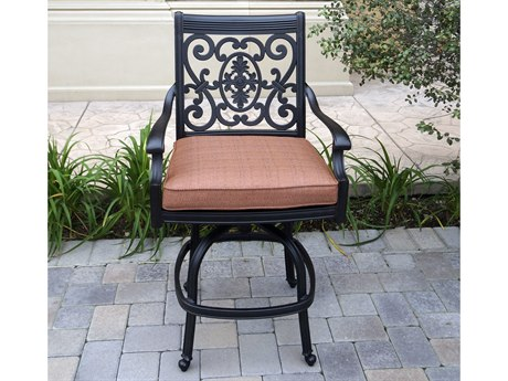 Darlee Outdoor Living St. Cruz Cast Aluminum Antique Bronze Swivel Bar Stool (Price Includes 6) PatioLiving