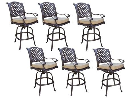 Darlee Outdoor Living Standard Nassau Cast Aluminum Antique Bronze Swivel Bar Stool (Price Includes 6) PatioLiving