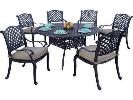 Darlee Outdoor Living Standard Nassau Cast Aluminum Antique Bronze 7 Piece Dining Set PatioLiving