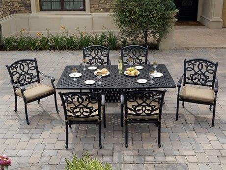 Darlee Outdoor Living Santa Monica Cast Aluminum Antique Bronze 7 Piece Dining Set PatioLiving