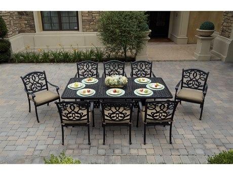 Darlee Outdoor Living Santa Monica Cast Aluminum Antique Bronze 9 Piece Dining Set PatioLiving