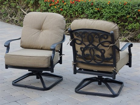 Darlee Outdoor Living Santa Monica Cast Aluminum Antique Bronze Swivel Rocker Lounge Chair (Price Includes 4)