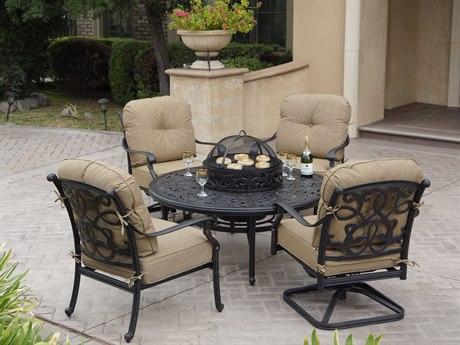 Darlee Outdoor Living Santa Monica Cast Aluminum Antique Bronze 5 Piece BBQ Fire Pit Lounge Set PatioLiving