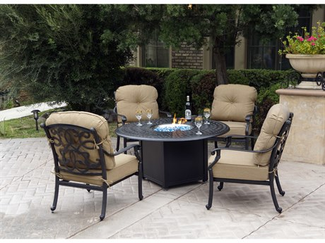 Darlee Outdoor Living Santa Monica Cast Aluminum Antique Bronze 5 Piece Fire Pit Lounge Set PatioLiving