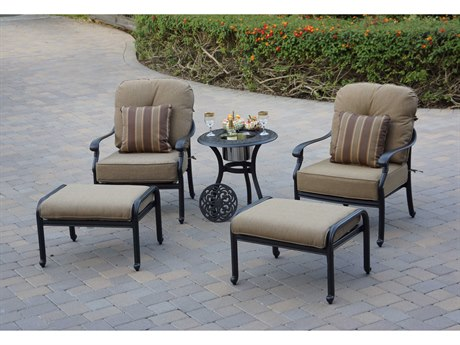 Darlee Outdoor Living Santa Monica Cast Aluminum Antique Bronze 5 Piece Lounge Set with Ice Bucket Insert