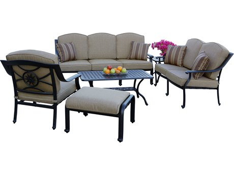 Darlee Outdoor Living Ten Star Cast Aluminum Antique Bronze 6 Piece Deep Seating Lounge Set