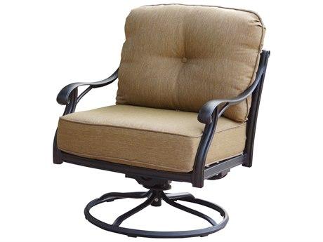 Darlee Outdoor Living Standard Nassau Cast Aluminum Antique Bronze Swivel Rocker Lounge Chair (Price Includes 4) PatioLiving