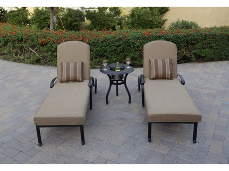Darlee Outdoor Living Elisabeth Cast Aluminum Antique Bronze 3 Piece Lounge Set with Ice Bucket Insert PatioLiving