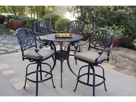 Darlee Outdoor Living Elisabeth Cast Aluminum Antique Bronze 5 Piece Bar Set PatioLiving
