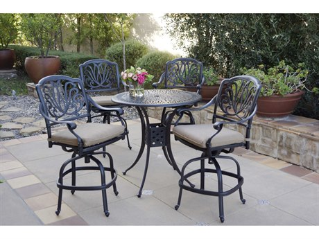Darlee Outdoor Living Elisabeth Cast Aluminum Antique Bronze 5 Piece Counter Set PatioLiving