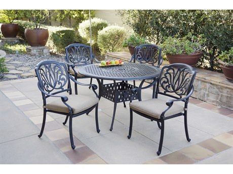 Darlee Outdoor Living Elisabeth Cast Aluminum Antique Bronze 5 Piece Dining Set PatioLiving