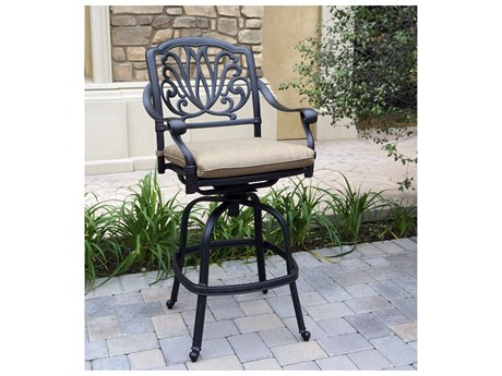 Darlee Outdoor Living Elisabeth Cast Aluminum Antique Bronze Swivel Bar Stool (Price Includes 4) PatioLiving