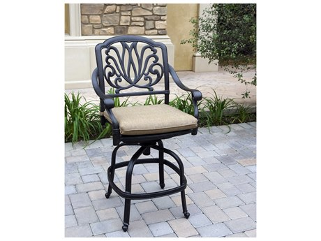 Darlee Outdoor Living Elisabeth Cast Aluminum Antique Bronze Swivel Counter Height Stool (Price Includes 4) PatioLiving
