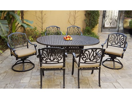 Darlee Outdoor Living Elisabeth Cast Aluminum Antique Bronze 7 Piece Dining Set PatioLiving