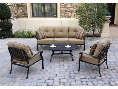 Darlee Outdoor Living Elisabeth Cast Aluminum Antique Bronze 4 Piece Lounge Set PatioLiving