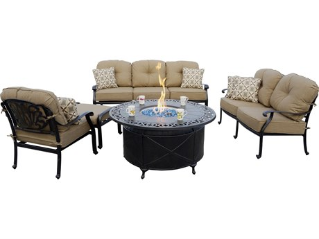 Darlee Outdoor Living Elisabeth Cast Aluminum Antique Bronze 5 Piece Fire Pit Deep Seating Lounge Set PatioLiving