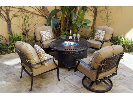 Darlee Outdoor Living Elisabeth Cast Aluminum Antique Bronze 5 Piece Fire Pit Lounge Set PatioLiving