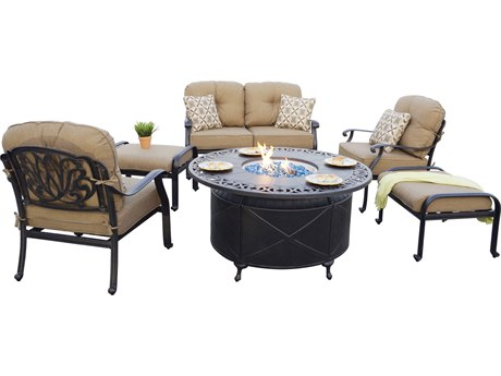 Darlee Outdoor Living Elisabeth Cast Aluminum Antique Bronze 6 Piece Fire Pit Lounge Set PatioLiving