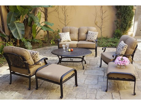 Darlee Outdoor Living Elisabeth Cast Aluminum Antique Bronze 6 Piece Lounge Set PatioLiving