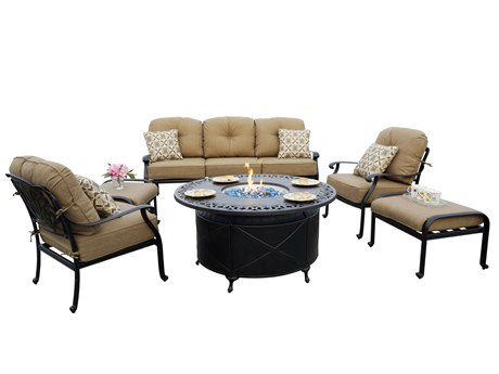 Darlee Outdoor Living Elisabeth Cast Aluminum Antique Bronze 6 Piece Fire Pit Lounge Set Outdoor Living Elisabeth Cast Aluminum Patio Lounge Set PatioLiving