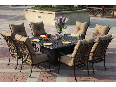 Darlee Outdoor Living Standard Santa Anita Cast Aluminum Dining Set with Fire Pit