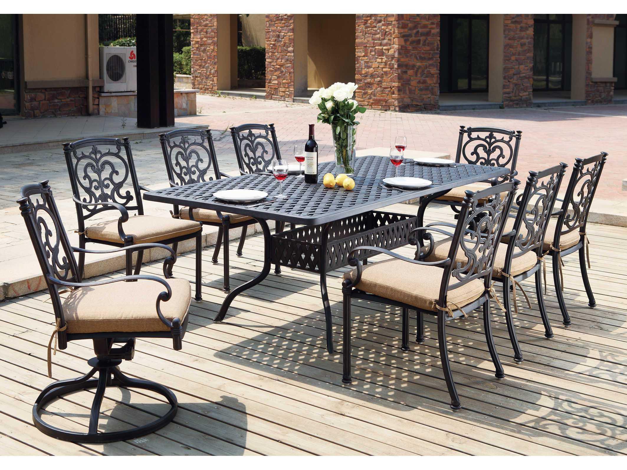 Darlee Outdoor Living Series 30 Cast Aluminum Antique Bronze 72 X 42 Rectangular Dining Table