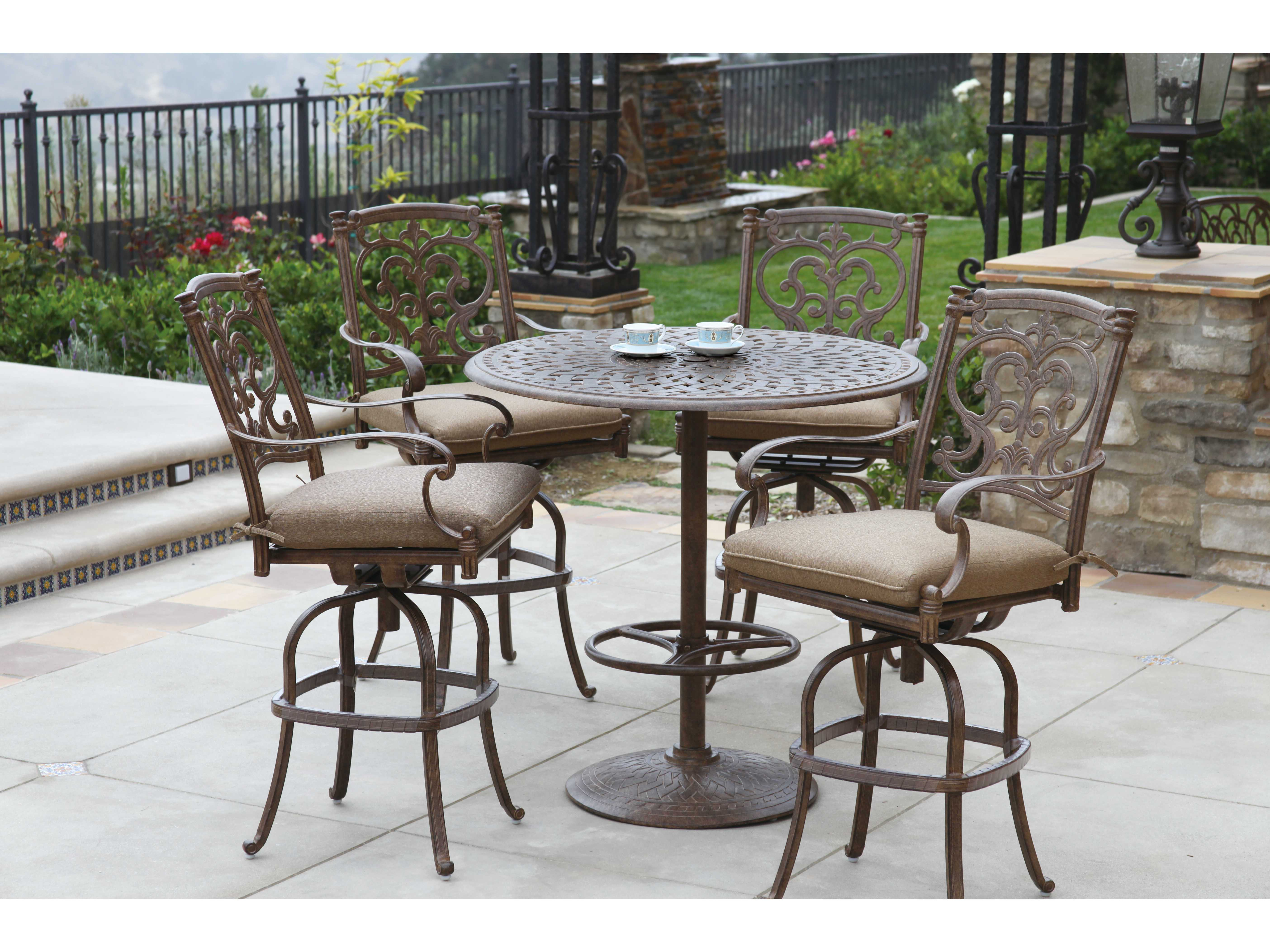 Darlee Outdoor Living Series 60 Cast Aluminum 30 Round Bar Table
