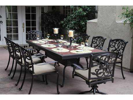 Darlee Outdoor Living Standard Santa Monica Casual Cushion Cast Aluminum Dining Set PatioLiving