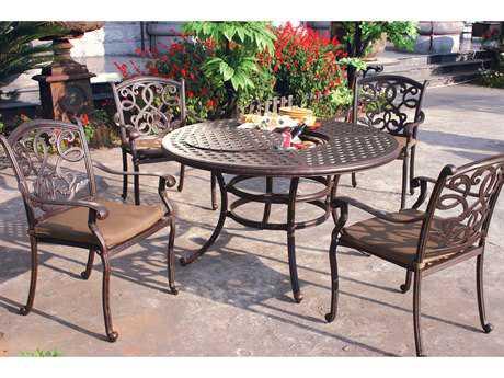 Darlee Outdoor Living Santa Monica Casual Cushion Cast Aluminum Dining Set PatioLiving