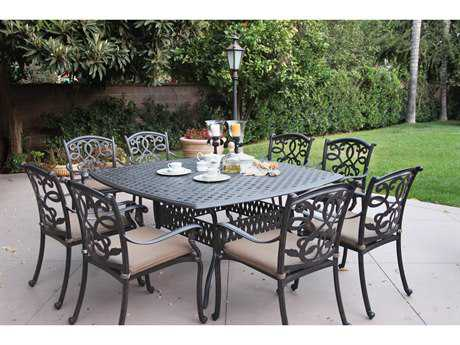 Darlee Outdoor Living Standard Santa Monica Cushion Cast Aluminum Dining Set PatioLiving