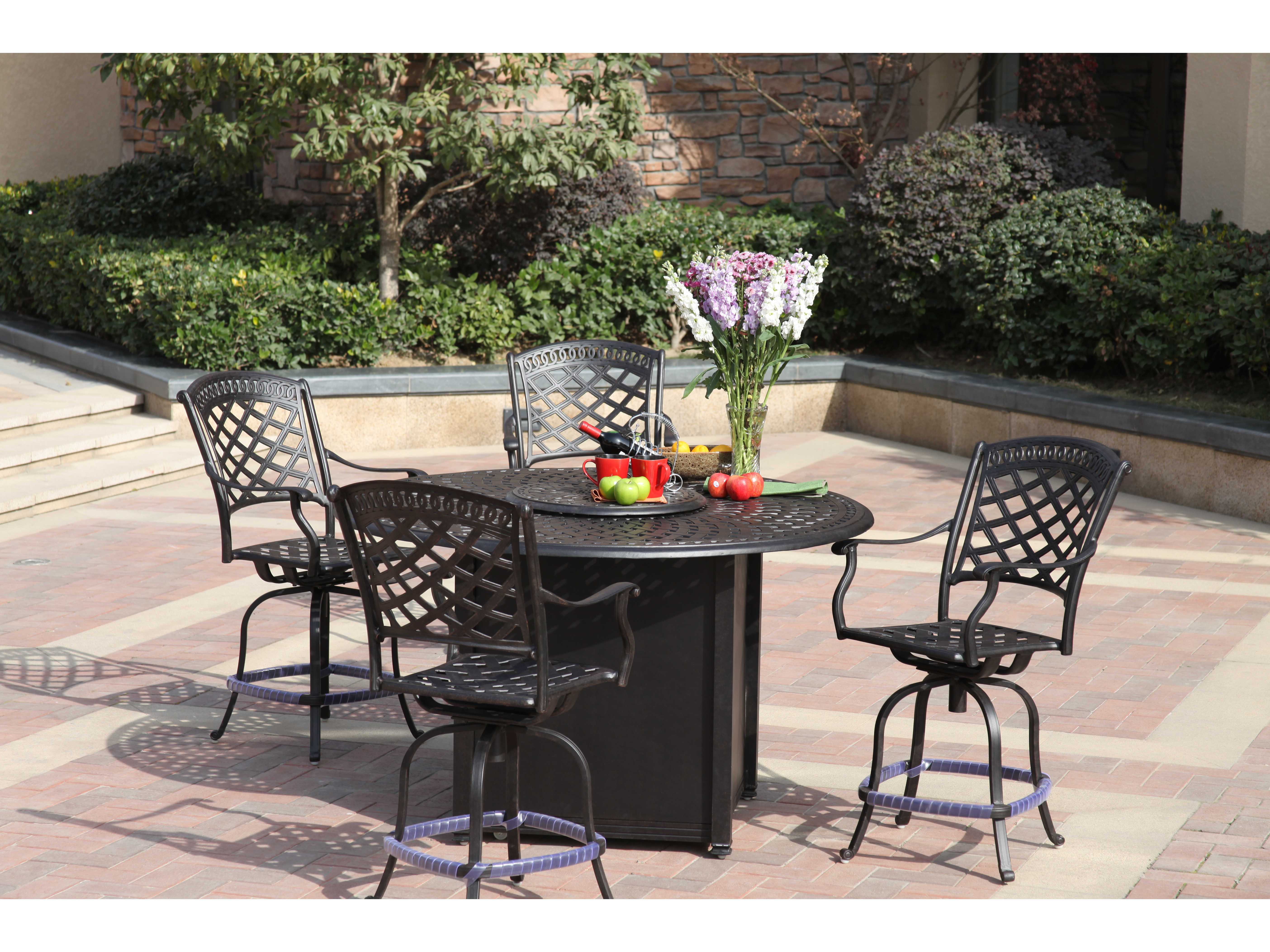 View · Darlee Outdoor Living Series 60 Cast Aluminum 60 Round Counter Height  Propane Fire Pit Table