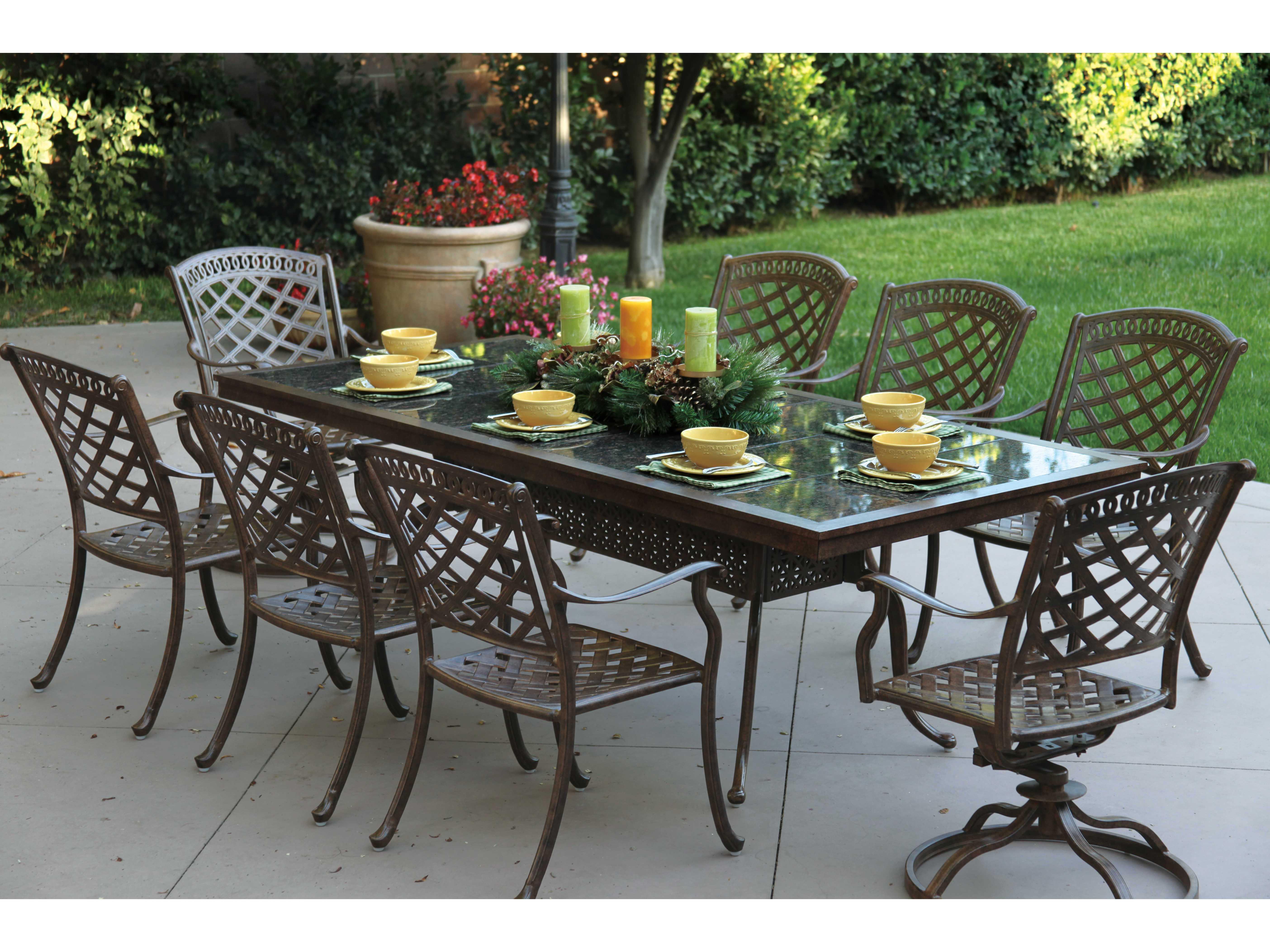 Patio Tables Dining: Darlee Outdoor Living Granite Top Cast Aluminum 91 X 41