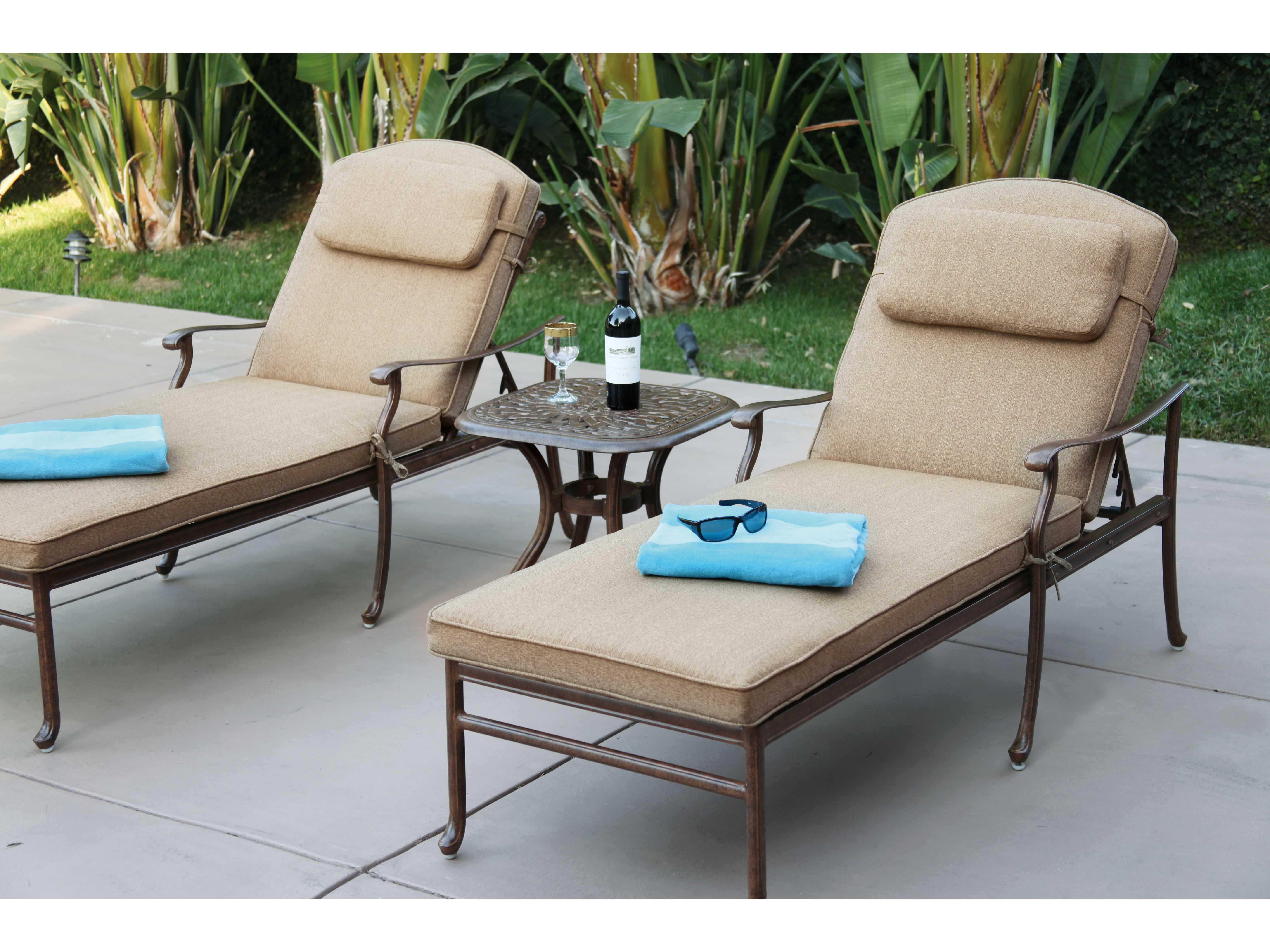 Darlee outdoor living florence cast aluminum chaise lounge for Cast aluminum outdoor chaise lounge