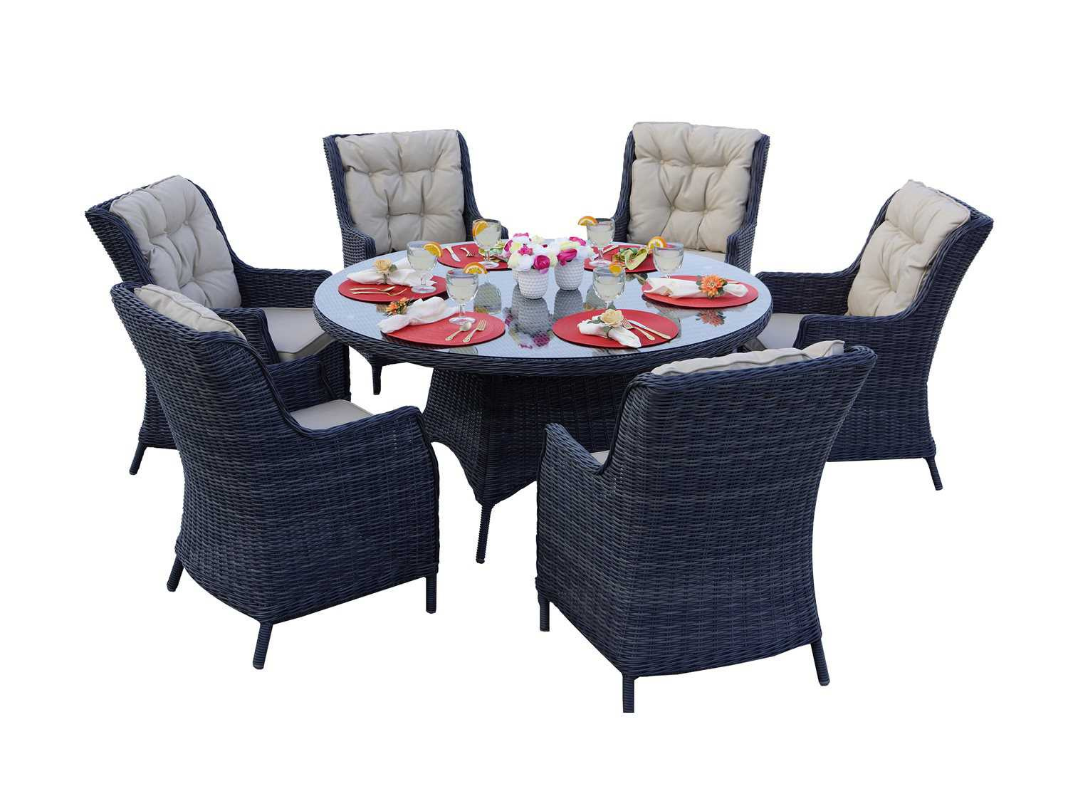 Darlee Outdoor Living Standard Valencia Wicker Dining Set ... on Outdoor Living Wicker id=86455