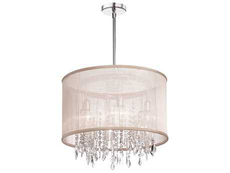Dainolite Bohemian Polished Chrome Six-Light 18'' Wide Chandelier