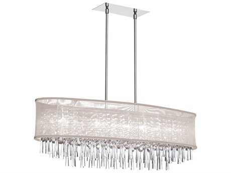 Dainolite Josephine Polished Chrome & Oyster Eight-Light 38'' Wide Island