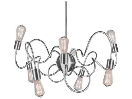 Dainolite Waitsfield Satin Chrome Eight-Light 25'' Wide Chandelier