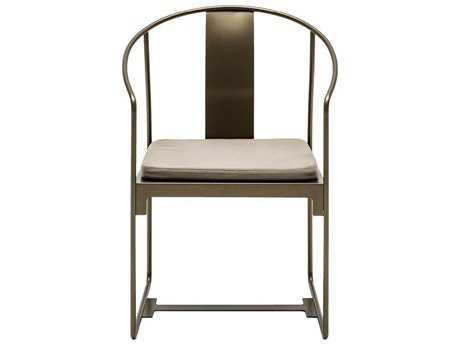 Driade Mingx Steel Cushion Bronze Dining Arm Chair PatioLiving