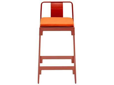 Driade Mingx Steel Cushion High Stool With Back In Orange